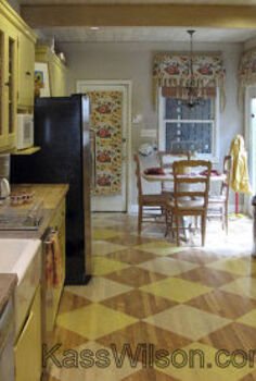 home decor painting a floor, flooring, hardwood floors, home decor, kitchen design, painting, A charming vintage kitchen with custom design on the hardwood floors See the full story at