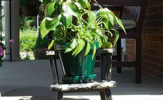high chair outdoor planter, gardening, repurposing upcycling, High chair