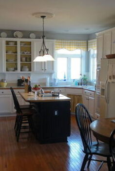 i achieved a farmhouse country restyle for my builders grade oak cabinet kitchen by, home decor, kitchen backsplash, kitchen design, painting, From oak blah to white WOW