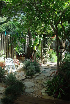 how i deal with shade my shade gardens, gardening, ponds water features, West side yard pathway and flagstone combined for hardscape accent to shade loving plants