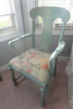 thrift store chair repainted in ascp duck egg blue with clear and dark wax vintage, painted furniture