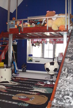 loft bed w slide and stairs, bedroom ideas, painted furniture, lots of playroom underneath