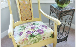 love how all the annie sloan chalk paints mix together so beautifully i mixed arles, chalk paint, painted furniture, rocker after applying a mix of Arles and Cream with a little distressing and clear wax sunshine in a can The fabric is a lovely remnant piece of floral linen