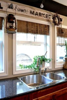 make your own coffee sack shades fast and easy, home decor, window treatments, windows, The kitchen backs onto park property so privacy isn t an issue And I prefer the sun to stream right on it anyway