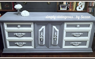 before and after dresser, chalk paint, painted furniture, I detailed the trim in white