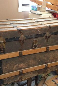 vintage trunk makeover, painted furniture, repurposing upcycling, Before