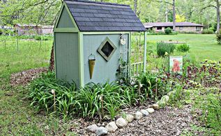 small house country garden playhouse set for summer, flowers, gardening, landscape, outdoor living, perennial, repurposing upcycling, woodworking projects