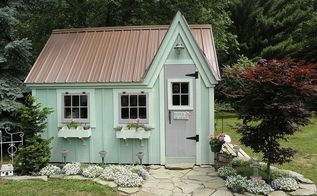 mirabella and isadora s cottage, home decor, We painted the cottage green with a lighter green for the trim and flower boxes We used lavender for other accents There is a double door with a ramp that opens to the right not in picture