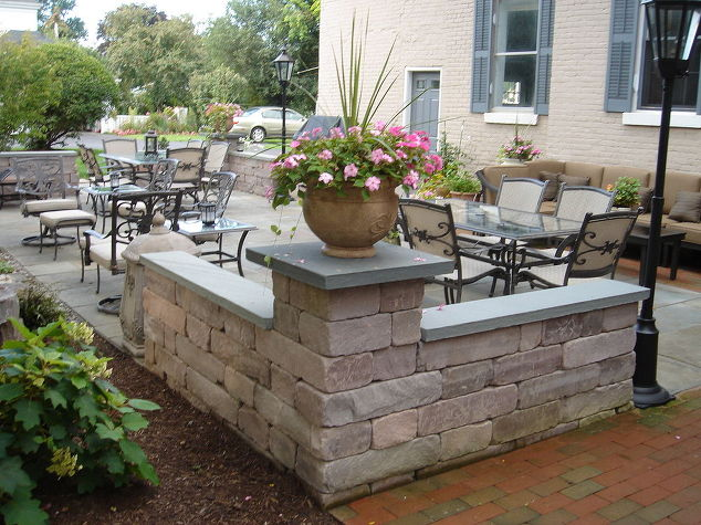 stone amp brick patio repair led lighting waterfalls fountain and landscaping in fire pit - Brick Patio Wall Designs