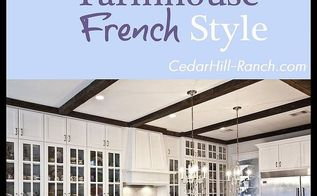 farmhouse french kitchen tour, home decor, kitchen design, Come take a tour around our French kitchen I used reclaimed beams on the ceiling and reclaimed oak for the floors