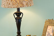 ruffled lamp shade made from a drop cloth, crafts, lighting, After