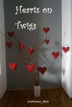 hearts on twigs, crafts, seasonal holiday decor