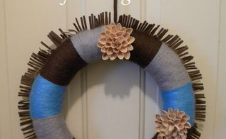 i might be crafty after all, crafts, flowers, wreaths, Wreath yarn wrapped wreath pistachio shell flowers