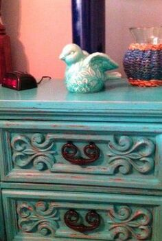old nightstand brought back to life, chalk paint, painted furniture, Little Boy Blue Nightstand