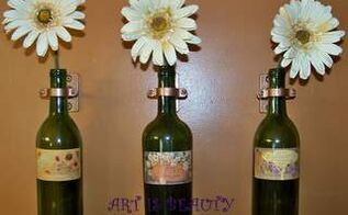 re using old wine bottles for wall vases, home decor, repurposing upcycling