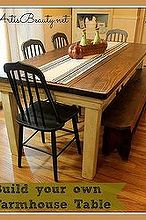 how to build your own farmhouse table for under 100 diy, diy, how to, painted furniture, woodworking projects, My finished farm house table Now part of my kitchen and my family