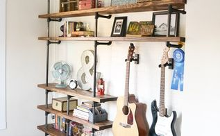 how to build industrial shelves, bedroom ideas, diy, how to, shelving ideas