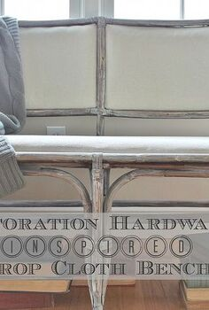 how to get the restoration hardware look for less, painted furniture, reupholster, A dark bench was transformed with a little paint 5 drop cloth