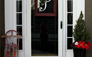 my home decorated for the holidays, christmas decorations, seasonal holiday decor, wreaths, Front porch with DIY wreath