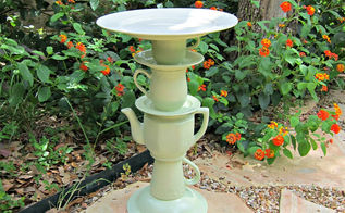 tea pot bird bath, crafts, outdoor living, repurposing upcycling, It could hold bird seed as well or would even make a cute plant stand