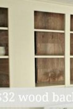 create a wood slat look in your open cabinets for 32, kitchen cabinets, kitchen design, woodworking projects
