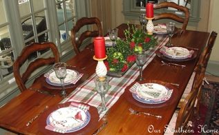 french country kitchen christmas tablescape, christmas decorations, seasonal holiday decor