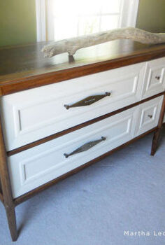 walnut and white credenza and an unusual use for a brown paper bag, painted furniture