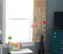 window molding and rustic indoor shutters, windows, woodworking projects, Window molding and rustic shutter