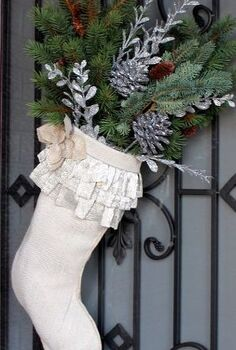 christmas door stockings, christmas decorations, seasonal holiday decor, wreaths