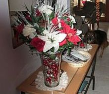 we did a red white and sliver christmas enjoy the color scheme throughout my home, christmas decorations, seasonal holiday decor, My entry table sets the stage