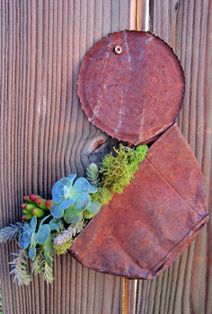 what can you do with a smashed rusty tin can, flowers, gardening, repurposing upcycling, succulents