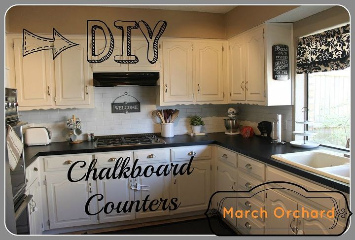 Chalkboard countertops hometalk for Can i paint over laminate kitchen cabinets