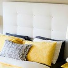 upholstered headboard ikea malm hack, bedroom ideas, diy, home decor, painted furniture, repurposing upcycling, reupholster, Upholstered IKEA MALM headboard