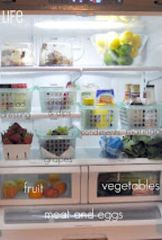 an organized refrigerator, appliances, organizing