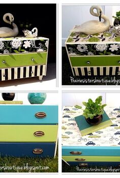 fun and funky repurposed dressers in fabric, painted furniture, repurposing upcycling, Repurposed dressers went from boring white to fun and funky fabric prints