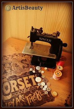 vintage corset advertisement night stand using iron on paper, home decor, painted furniture