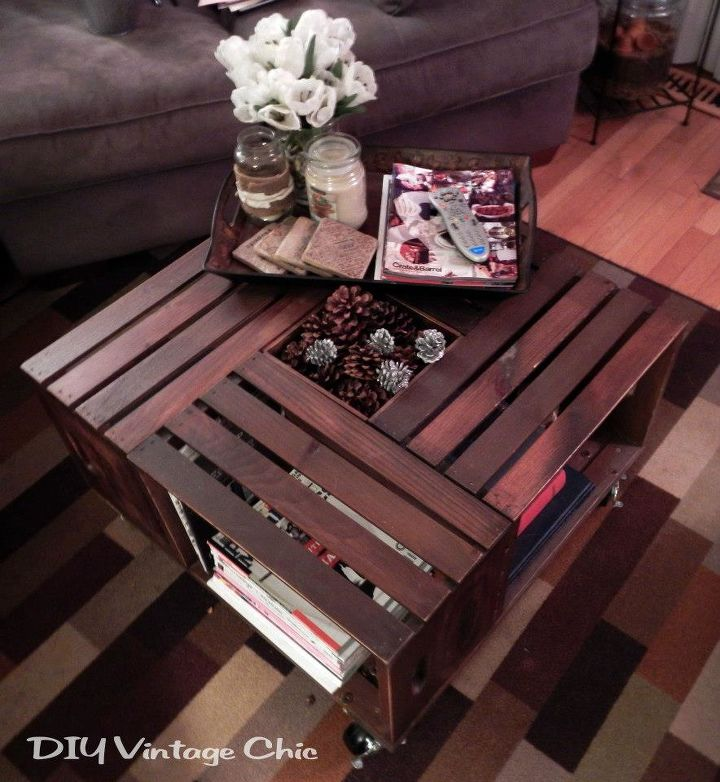 vintage wine crate coffee table, painted furniture, repurposing upcycling,  For winter change the - Vintage Wine Crate Coffee Table Hometalk