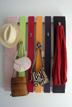colorful diy coat rack from a wood pallet shelterness, pallet
