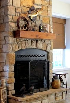 2012 basement project, basement ideas, fireplaces mantels, home decor, Fireplace with stone and cedar mantel