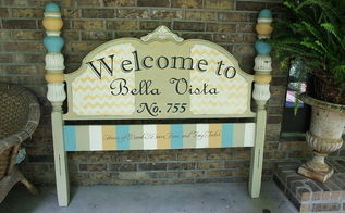 repurposed vintage headboard sign, chalk paint, painted furniture, repurposing upcycling, Vintage headboard makeover by Bella Tucker Decorative Finishes