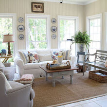 refreshed sunroom, home decor, walls were green and I painted them with White Sand by Benjamin Moore paints What a refreshing difference the lighter color made Hope you will come visit my blog savvysouthernstyle blogspot com