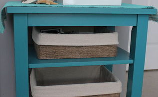 make baskets out of cardboard boxes, crafts, organizing, shelving ideas, I made some liners from a drop cloth to line the cardboard boxes to complete the look