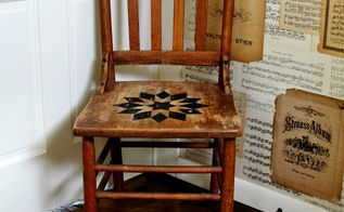 quilt inspired antique chair, painted furniture