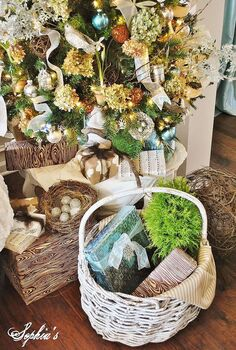 garden inspired christmas tree, living room ideas, seasonal holiday decor