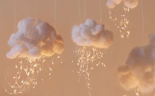 how to make glowing clouds of cotton, crafts, lighting