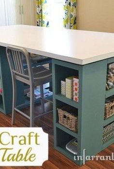 best diy projects of 2013 infarrantly creative, crafts, diy, how to, Coming in at over 40 square feet this amazing craft table sits like an island in the middle of the room and creates a large space to work on all my projects as well as engage the kids in creativity