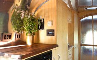 beautiful and green runaround sue 1961 vintage airstream safari renovation, composting, go green, home improvement, The cabinets are constructed from plyboo plywood made from bamboo All casing and trim was finished with tung oil and VOC free solvents Staining was done with VOC free aniline dyes