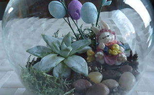 making an easter terrarium, easter decorations, flowers, gardening, seasonal holiday d cor, succulents, terrarium, I added a bit of moss some pebbles easter bunny and tiny stems of easter egg blooms