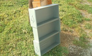 old drawer upcycle to dvd storage, repurposing upcycling, storage ideas, Ready to use minus feet Inside greyish brown outside grey Lightly sanded to give distress