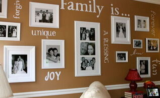 gallery wall, home decor, Finished Product Family Gallery Wall with vinyl words cut with Cricut diecutting machine